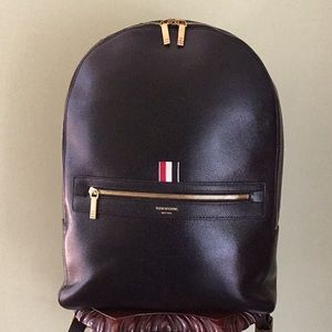 Thom Browne Authentic Classic Black Leather Backpack
